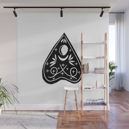 Linocut Planchette ouija mystical magical arts black and white linocuts Wall Mural
