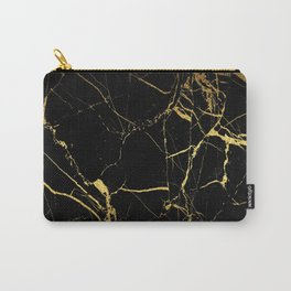 Black Gold Marble - Abstract, textured, marble pattern Carry-All Pouch