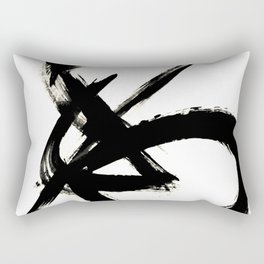 Brushstroke 3 - a simple black and white ink design Rectangular Pillow