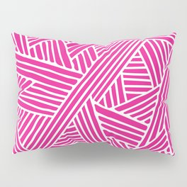 Abstract pink & white Lines and Triangles Pattern - Mix and Match with Simplicity of Life Pillow Sham