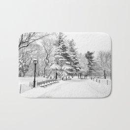 New York City Winter Trees in Snow Bath Mat