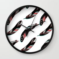 feathers Wall Clocks featuring FEATHERS by JoanaRosaC