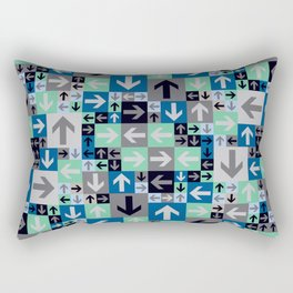 Arrow Pattern Blue Green Gray Rectangular Pillow
