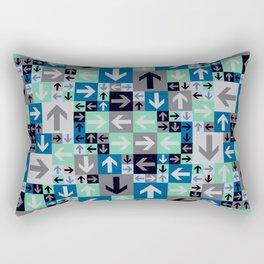 Arrow Pattern Blue Green Gray Rectangular Pillow