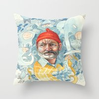 the life aquatic Throw Pillows featuring AQUATIC by busymockingbird
