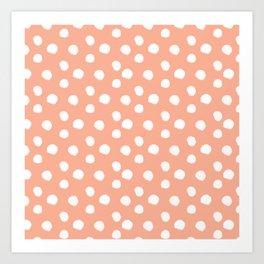 Brushy Dots Pattern - Orange Art Print