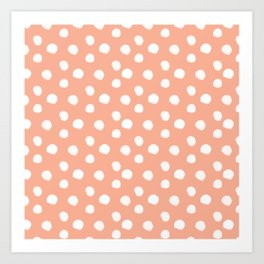 Brushy Dots Pattern - Orange Art Print