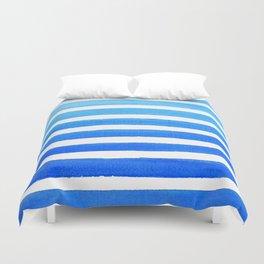 Blue Watercolor Stripes Duvet Cover