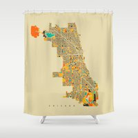 chicago Shower Curtains featuring Chicago by Nicksman