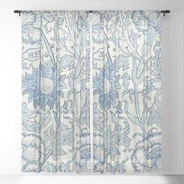 William Morris Beautiful floral pattern, blue,rose,william Morris pattern, art nouveau pattern Sheer Curtain