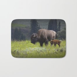 American Buffalo Bison Mother and Calf in Yellowstone National Park Bath Mat