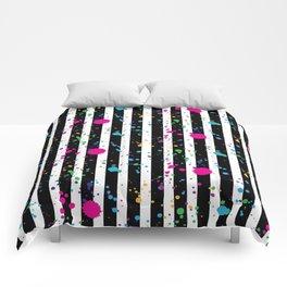 Stripes & Rainbow Splatter Comforters