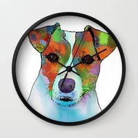 jack russell Wall Clocks featuring Jack Russell Dog by Marlene Watson
