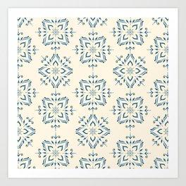 Portuguese tile style ornamental pattern - blue on cream Art Print