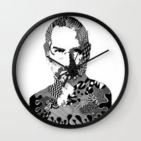 steve jobs Wall Clocks featuring Steve Jobs Doodle by Rebecca Bear