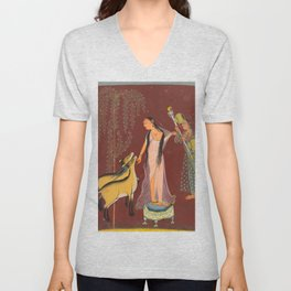 A Lady with Attendant and a Pair of Deer - 18th Century Classical Indian Art Unisex V-Neck