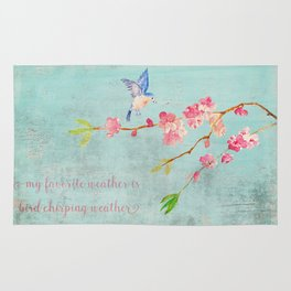 My favorite weather - Romantic Birds Cherryblossoms and Spring Typography on aqua Rug