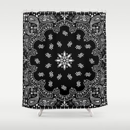 black and white bandana pattern Shower Curtain