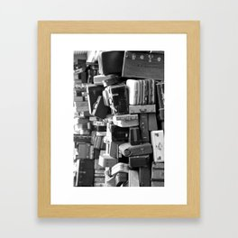 TOWER OF LUGGAGE in Black & White Framed Art Print