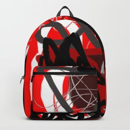 Red, Black & Gray Abstract Backpack