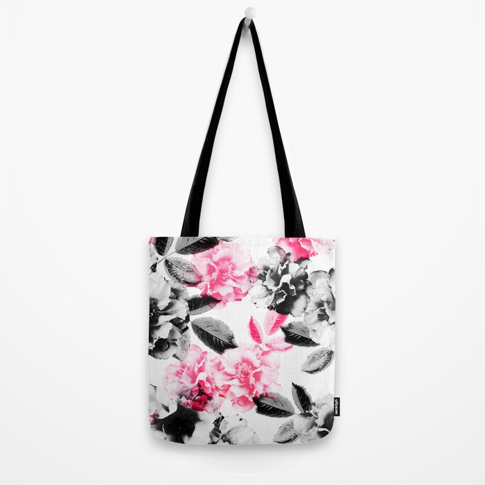 Rose Garden in Pink and Gray Tote Bag
