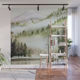 Mount Rainier Fog Wall Mural