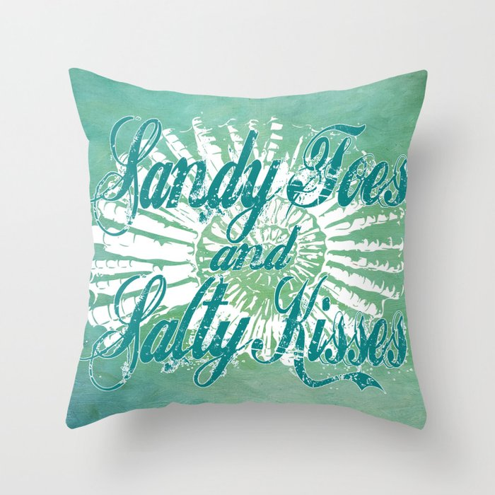 Sandy Toes And Salty Kisses With Nautilus Shell Graphic Design Throw Pillow By Purposelydesigned Society6