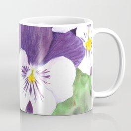 Purple and white pansies flowers Coffee Mug