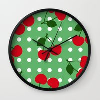 cherry Wall Clocks featuring cherry by vitamin