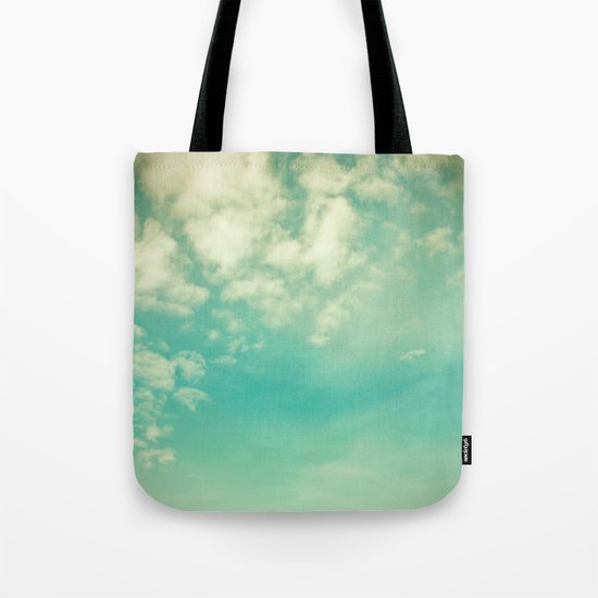 Retro Vintage Blue Turquoise Fall Sky and Clouds Tote Bag