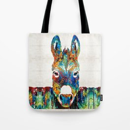 Colorful Donkey Art - Mr. Personality - By Sharon Cummings Tote Bag