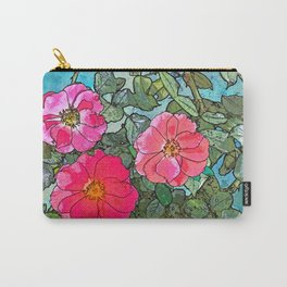 Pink Roses Rosebush Rose Bouquet Floral Painting Carry-All Pouch