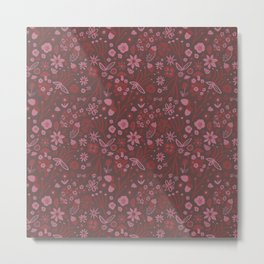 Freestyle Fall Floral in Mauve Metal Print