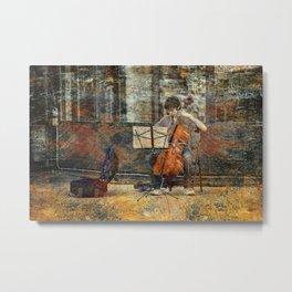 Sidewalk Cellist Metal Print