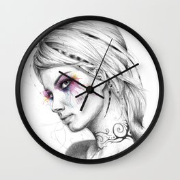 Beautiful Girl with Tattoos and Colorful Eyes Wall Clock