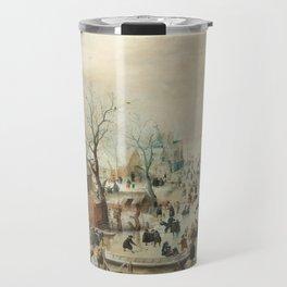 Hendrick Avercamp - Winter landscape with ice skaters ca. 1608 Travel Mug