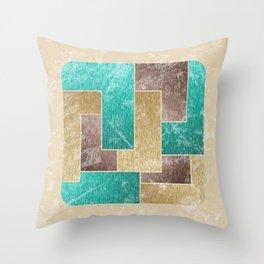 Mod Retro Digital Graphic Old Worn Velveteen Tile Throw Pillow