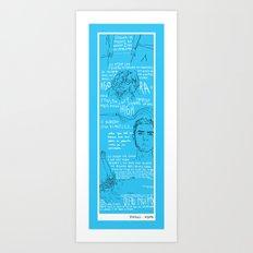 portrait in black and blue Art Print