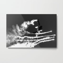 Belgian F16 and Flares Metal Print