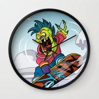 snowboarding Wall Clocks featuring Snowboarding by Brain Drain Fox