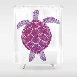 Magenta Sea Turtle Shower Curtain