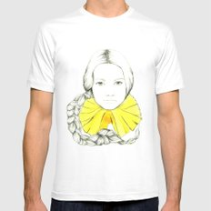 Frill Neck Lady White Mens Fitted Tee SMALL