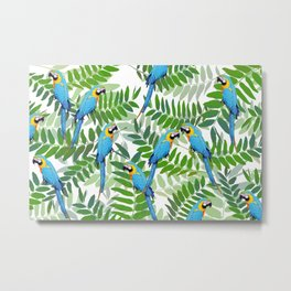 green Leaves with blue Makaw Birds Metal Print