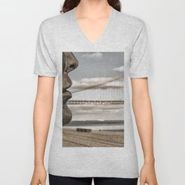 profile statue and bridge Unisex V-Neck