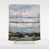 maine Shower Curtains featuring Maine by Samantha Crepeau