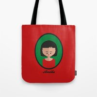 amelie Tote Bags featuring Amelie by Juliana Motzko