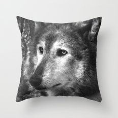 Pondering Wolf Throw Pillow
