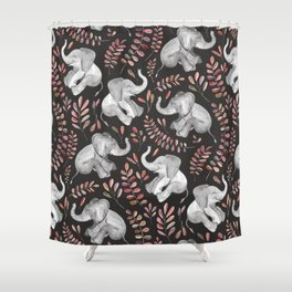 Laughing Baby Elephants - Coral Shower Curtain