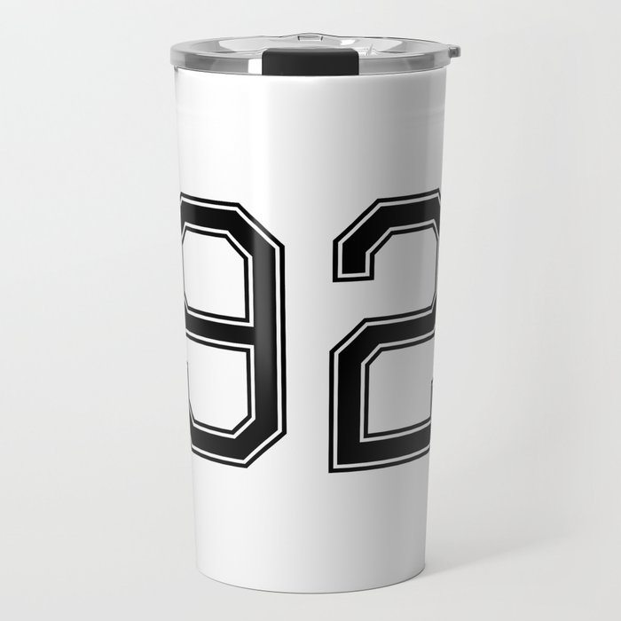 Number 92 American Football, Soccer, Sports Design Travel Mug