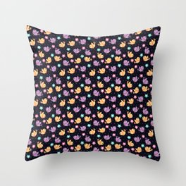 Freely Birds Flying - Fly Away Version 2 - Dark Charcoal Color Throw Pillow
